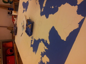 Starting to paint the ocean around the countries.