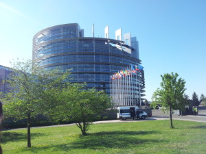 European parlament seen from the outside.