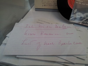 The handwriting of J. F. Kennedy, Ich bin ein Berliner.