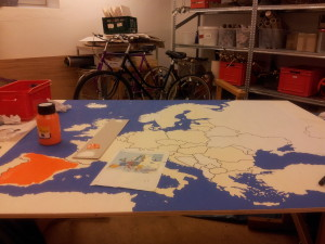 Starting to paint the countries in different colours.